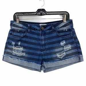Forever 21- Premium Denim Stripe Distressed Shorts